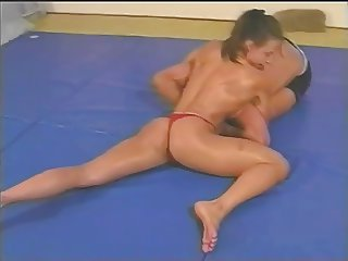 Topless Mixed Wrestling with Fitness Model Charlene Rink