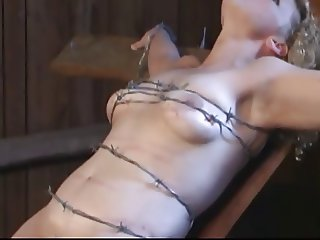 tied with barbed wire crushing soft tit and pussy meat