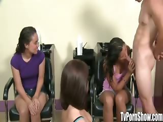 Amateur Girls at Hair Salon Tugging on Cock