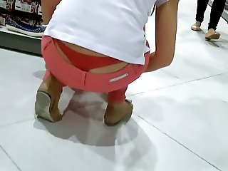 Girl working Red Thong Slip view
