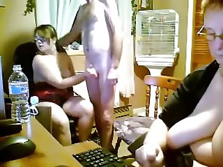 ANISH YOUNG AND OLD THREESOME IN KITCHEN WEBCAM