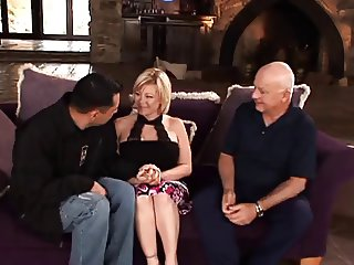 Hot wife bangs a lucky guy in front of her husband his friend