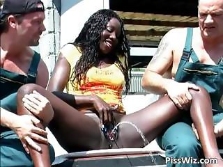 Ebony slut enjoys two dicks and in their part2