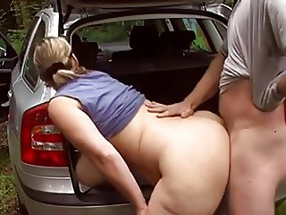 German BBW fucked outside