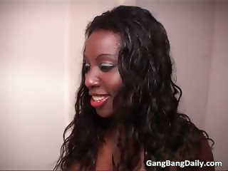 Thirsty ebony whore get mouth full part6