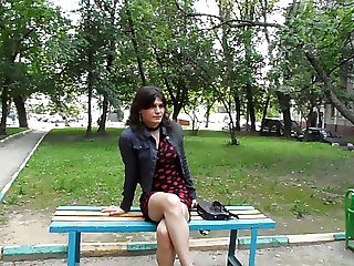 Russian crossdresser on the street