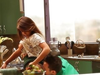romantic sex in kitchen