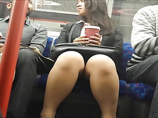 Upskirt during Conversation on Train