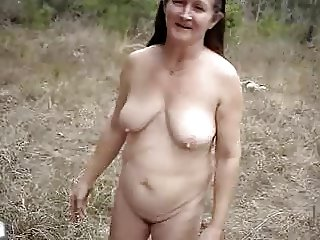 Horny granny in the forrest