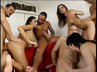 College girls play with food and get fucked in an orgie