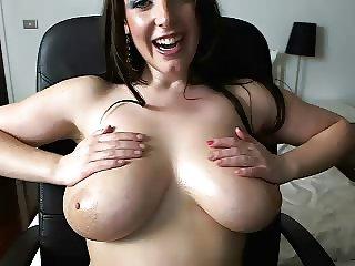 Big tits australian oil and dildo fuck