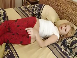 Charming french blondie rubbing clit