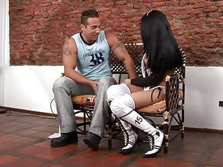 Sexy shemale in boots gets banged