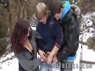 Cold bi threesome teen party