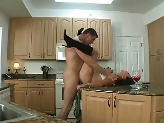 Getting My Cougar on in kitchen