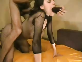 Slut deepthroat and vegetable fuck
