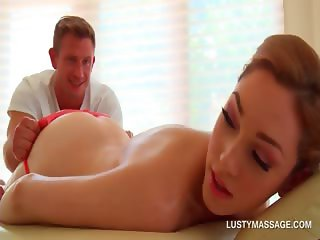 Blonde beauty gets pussy teased by hot masseur