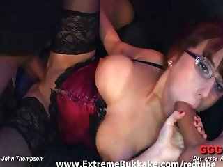 Nerdy redhead babe goes wild in orgy