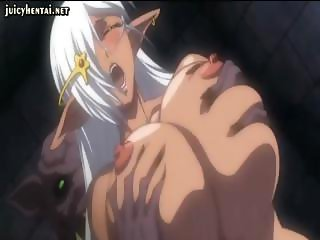 Busty anime gets her ass pounded