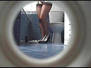Taking nylon stockings off hidden camera