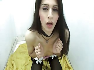 Sexy Brunette Tranny Masturbating On Floor