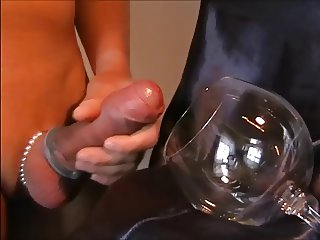 G SHAVED COCK CREAM CUMSHOT IN GLAS