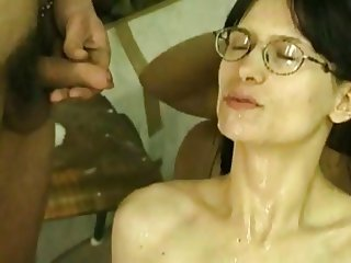 Hairy slut with no breast takes a shpwer