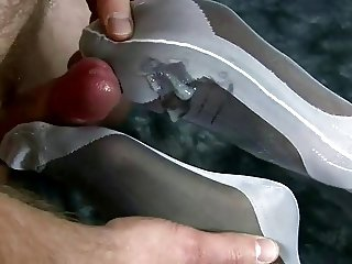 Double layered nylon Footjob