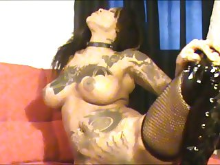sexy tatted black girl makes a mess on the floor