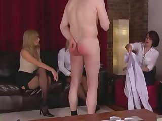 Three Dommes in Stockings Humiliate Guy