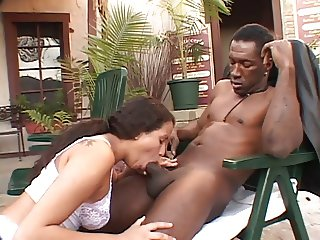 Latin slut blows black dick