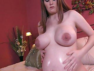 Pregnant Big Tits and Oil JOI