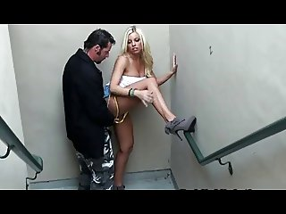 blond public stairs blow and sex