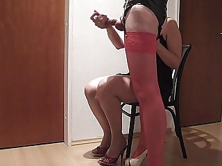 handjob in pink nylons