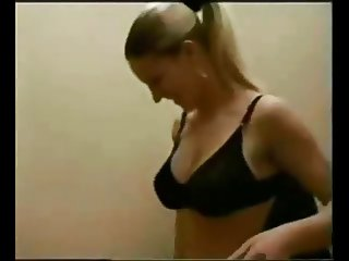 Big breasted gets quickie in changing room