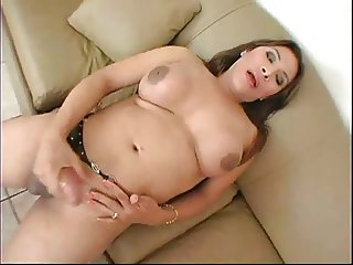 Shemale Gaping With A Dildo