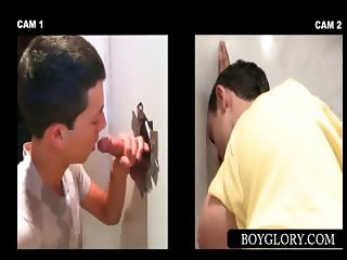 Gloryhole gay oral sex with horny guys