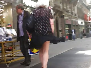Windy upskirt 3 Granny purple pantie