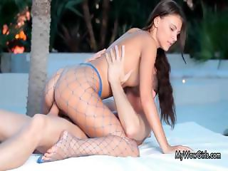 Hot brunette babe goes crazy getting her part6