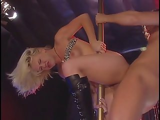 Hot blonde Missy Monroe dances on pole in strip club
