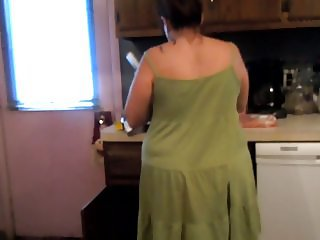 M UPSKIRT PREPARING DINNER SEXY GREEN DRESS AND PANTIES
