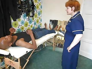 Fucking a big black cock by the nurse