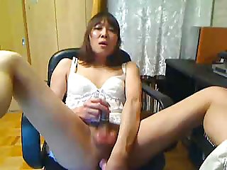 Horny Japanese Crossdresser Dildo Fuck Cum and Swallow