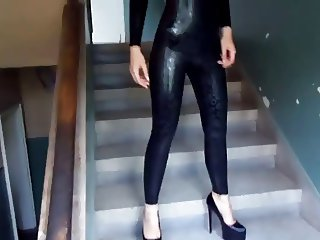 Black liquid catsuit black heels