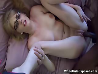 Nerdy White Chick Gets Plastered With Cum By A Black Cock