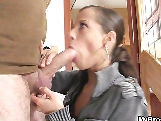 Naughty girl jumps on her BF s bro cock