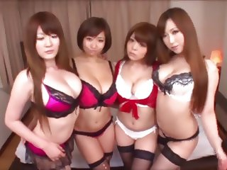 Lucky Man gets to do 4 Big Boobied JAV Girls