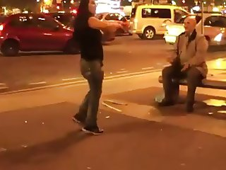 Slut Strips Off In The Street Gives Everyone A Free Show