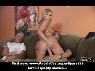 Sweet blonde girl having gangbang sex