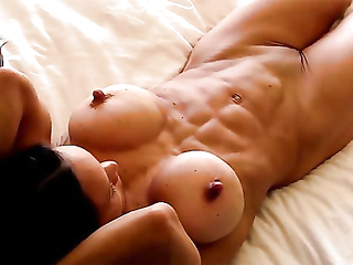 Muscular woman with big clit enjoys her self pleasure